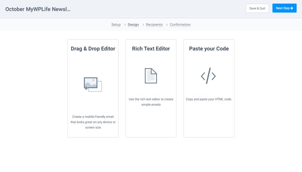 Sendinblue Email Editor Options